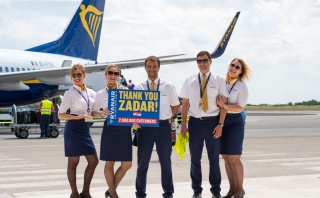 Ryanair celebrates carrying 2m customers in Zadar with €24.99 seat sale