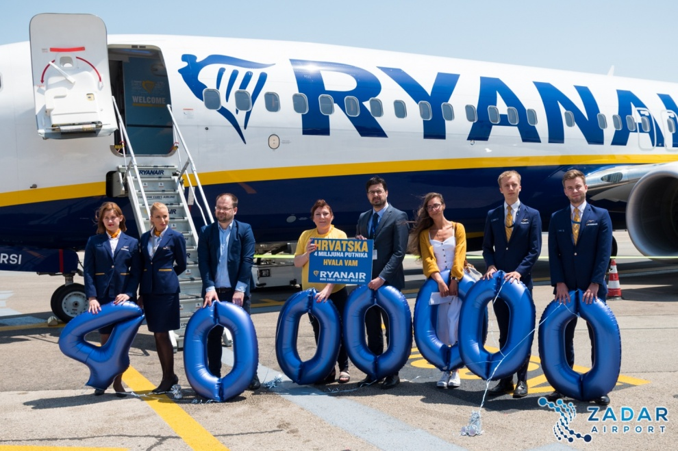 Ryanair Celebrates Carrying 4 Million Customers In Croatia Zadar Airport